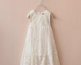 2T-10T, Light Ivory Bohemian Flower Girl Dress, Crochet Embroidered Girl, Baptism Girl Dress, Beach Flower Girl