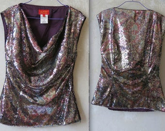 VIVIENNE WESTWOOD red label vtg sequin rainbow color top sz 40 / S/M