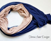 Blue and Beige Lightweight Hand Dyed Scarf, Long Scarf, Fall Scarf, Viscose, Blue and Tan Scarf