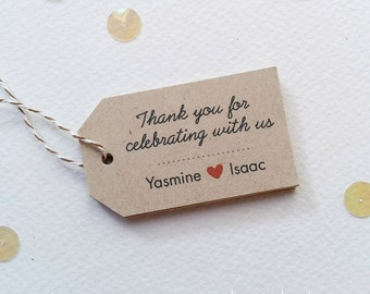 Personalized wedding tags - Thank You for celebrating tags - Rustic Shower tags - Anniversary favor tags (tw-18k)