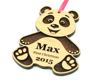 Baby's First Christmas Ornament, Personalized Wooden Ornament, Wood Panda Bear Ornament, New Baby Gift Keepsake, Nursery Decor FREE SHIPPING
