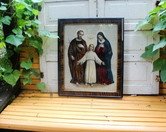 Holy Family Holy Spirit Hovering above Jesus, Joseph Left and Mary Right 1913 Framed Lithograph. Framed Art. Wallhanging. Religious.