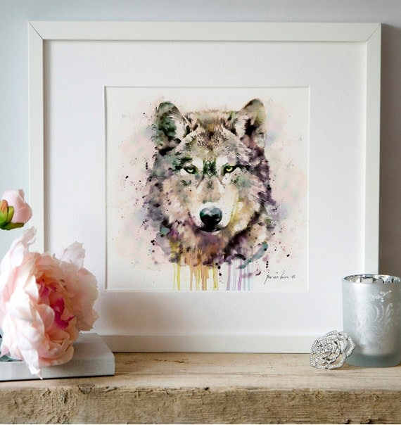 peinture aquarelle de t te de loup la faune wall art poster. Black Bedroom Furniture Sets. Home Design Ideas