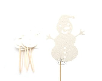 12 Glitter Christmas Snowman Cupcake Toppers - Christmas Cupcakes, Christmas Cupcake Toppers, Christmas Party Picks, Christmas Food Picks