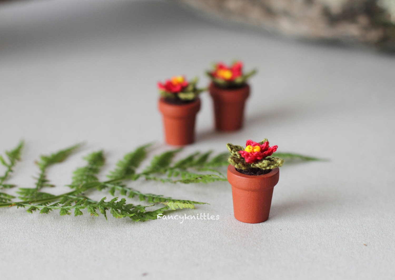 Crochet Poinsettia Miniature Christmas Potted Plant Gift For