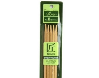 Double Pointed Knitting Needles - Lovely Clover Takumi Bamboo DPNs - Various Sizes and Lengths Available - Small Circumference Knitting
