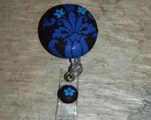 Trendy Retractable Id Badge holder, royal blue and black cotton print, LPN, RN, Nurse,Dr.,MD,Medical Student, retracrable  badge