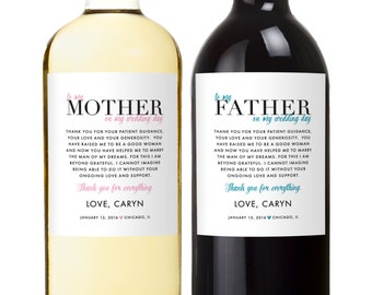 Parents Wedding Gift - Wine Labels - Father of the Groom - Mother of The Bride - Thank You Wedding Gifts - Set of 2