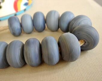 SRA Lampwork Beads, Denim Blue Lampwork, Destash Lampwork Beads, 12 pieces