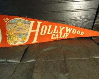 vintage souvenir pennant felt Hollywood California