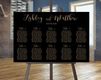 Printable seating chart, Wedding seating chart, Elegant seating chart, Black and gold seating chart, Wedding seating plan, Gold seating plan