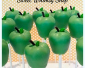 12 Green Apple Cake Pops for teacher gift, Woodland Baby Shower, Fall wedding, birthday, Snow White, Disney Princess, Farm, party favor