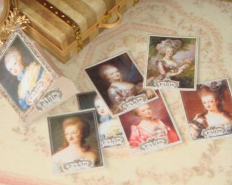 Dollhouse Marie Antoniette folder and illustrations. 1:12 Miniature prints for Dollhouses.