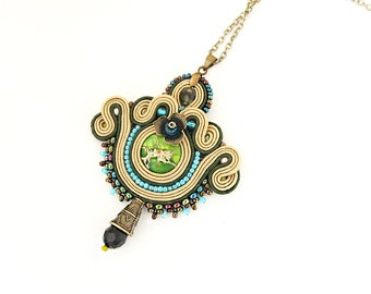 Brown green pendant, hazel embroidered pendant, hazel beaded pendant necklace, green pendant, handmade hazel pendant