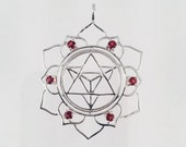 Sacred Geometry, Sterling Silver Merkaba in Lotus Pendant with 6 Garnets