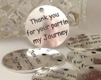 5pc Thank You For Your Part In My Journey Pendant Charms – Sponsor Mentor Counselor Teacher Guide – Recovery Alcoholics Narcotics Anonymous