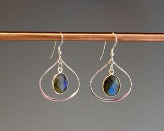 Labradorite earrings - Gemstone earrings - Labradorite jewelry - gift for her - sterling jewelry - Sterling earrings - elegant - Lab Tears