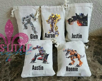 Party Favor Bags.  4x6 Party Bags. Transformers Themed Party. Transformers Party Bags. Muslin Bags. Favor Bags. Candy Bags. Party Bags.