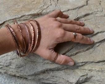 Stacking copper bracelet, stacking bracelet, women's copper bracelets, stacking bare copper bracelets, boho stacking bracelets, boho bangles