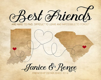 Rustic Wall Art, Custom Map for Best Friends, Birthday Gift idea for Friends, Quote about Friends, Brown Wall Art, Neutral Tan Beige | WF327