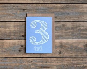 Irish 3rd birthday card, trí, as gaeilge birthday, irish language, made in Ireland, childs birthday card in Irish