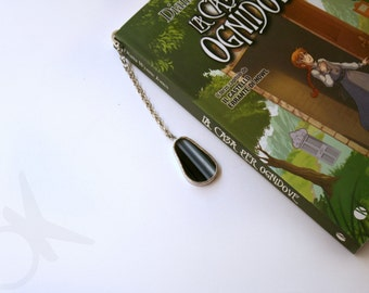 Black matrioska bookmark small size with metal and Tiffany glass