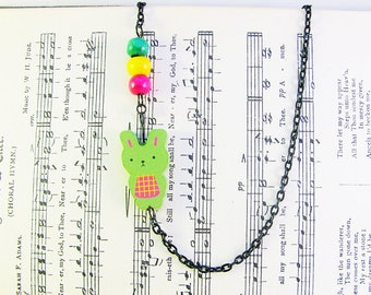Green Rabbit Necklace, Beaded Necklace, Chain Necklace, Cute Jewelry, Black Chain Necklace, Cute Necklace, Cute Jewellery, Bunny Necklace