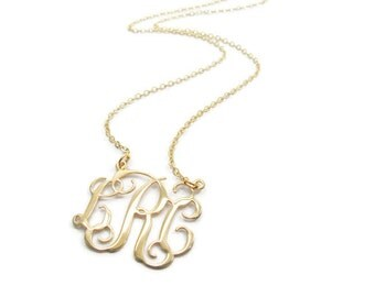 """Monogram necklace. 2"""" Personalized Necklace - Sterling silver 925 Plated 18k gold. gift for her, monogram jewelry. Gold monogram necklace"""