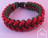 Red Green Shark Jaw Bone Paracord Bracelet, Red Green Bracelet, UK