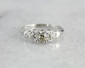 Pretty Vintage Diamond Engagement Ring with Mine Cut Diamond, 618M8Y-D