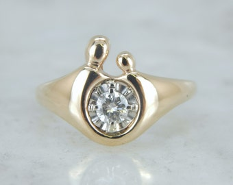 Mother and Child Ring with Bright Diamond Center A7QHU6-N