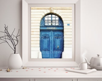 Chanel Paris Front Door:  Chanel Art Print, Watercolor Art Print, Coco Chanel, Chanel Home Decor, Bedroom Bathroom Fashion Wall Art