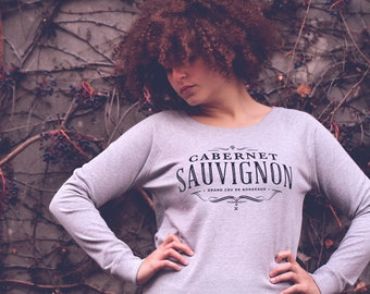 Sweatshirt Cabernet Sauvignon, typography, french wine, gift for girlfriend, bordeaux, christmas