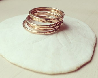 14k Gold Filled Handmade Hammered Stack Rings