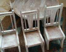 Whitewashed miniature doll table and chairs,Doll furniture, doll table, Barbie doll furniture, miniature furniture, miniature doll table,
