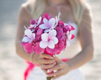 Wedding Silk Orchids and Plumerias Bridal Bouquet - Fuchsia Pink Natural Touch Silk Flower Wedding Bouquet