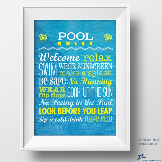 Printable rules for the pool poster pdf instant download for Pool design rules
