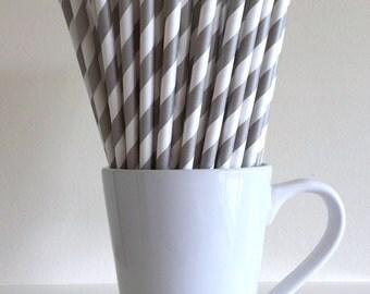 Gray Paper Straws Grey Striped Party Supplies Party Decor Bar Cart Accessories Cake Pop Sticks Mason Jar Straws