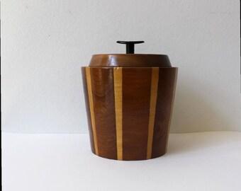 Vintage Lancraft Wood Ware Tea Caddy Mini Ice Bucket Storage Jar