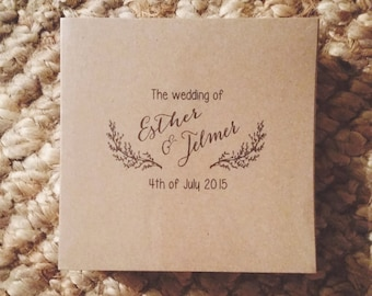 Custom Kraft CD Sleeves - CD Wedding Favors - Kraft Photography Portfolio Dvd / CD Covers - Woodland Wreath