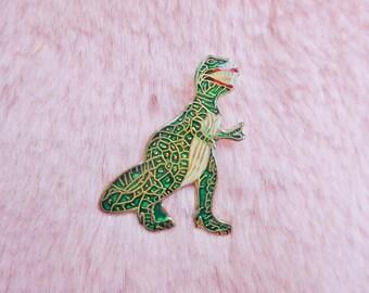 Vintage Retro 80s Metallic Enamel Tyrannosaurus Rex T-Rex Dinosaur Jurassic Pin Badge