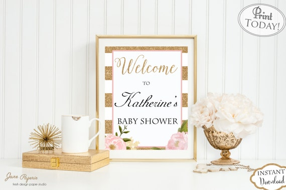 INSTANT DOWNLOAD - Glitter Floral Stripe Baby OR Bridal Shower Welcome Sign Printable - Welcome - Floral Shower Welcome Sign - 0138 - 0155