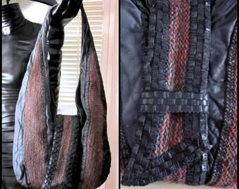 80s Artisan Purse / Vintage Hand Woven Shoulder Bag / Huge Woven Purse / 80s Woven Bag