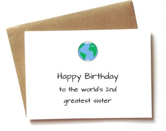 Funny birthday card for sister birthday, Worlds greatest sister