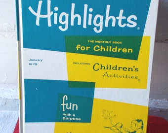 Vintage Highlights Monthly Book for Children Hardcover January 1979