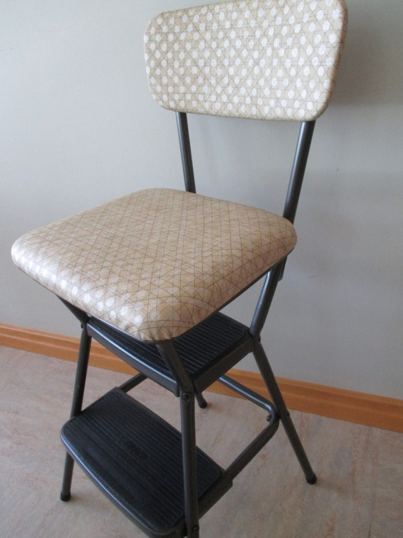 Vintage Restored Cosco Upholstered Retro Kitchen Utility Step