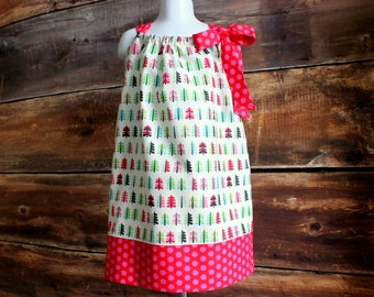 Christmas Dress Holiday Trees Outfit - Newborn to Child Size 7/8 girls pillowcase dress baby infant toddler Red green pink