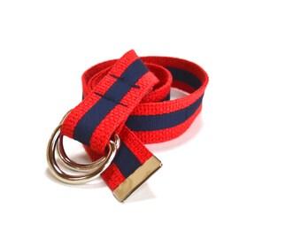 Red and Navy Ribbon Belt, Child Belt, Adjustable Kids Belt with Stripe
