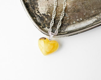 Baltic amber heart pendant / Milky amber heart pendant