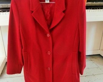 Vintage, LL Bean, Classic, Polo Coat, 3/4 Length, Lambswool/Cashmere, Women's 12 Petite